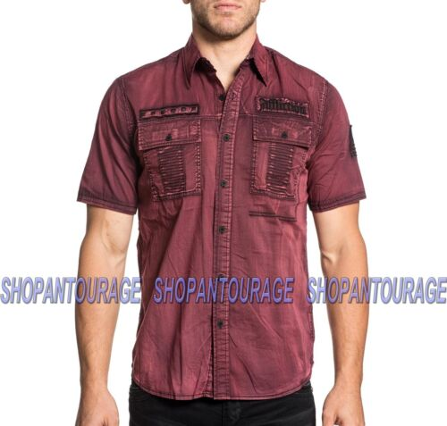 AFFLICTION Rusk 110WV668 Men`s New Blood Red S//S Button-Down Shirt