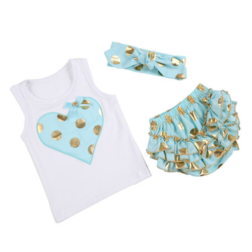 3PCS Baby Girls Gilding Tops T-shirt+Headband+Bloomers Pants Clothes Outfits New