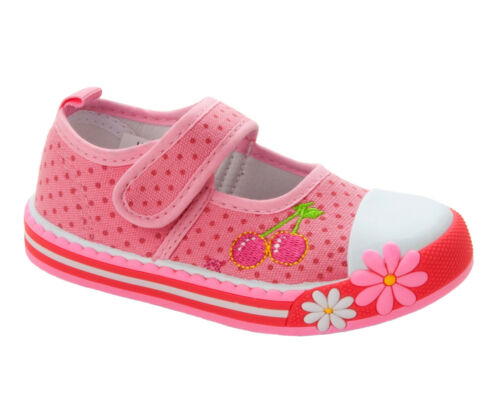 GIRLS PINK CHERRY FLORAL CANVAS CASUAL PUMPS SHOES TRAINERS UK SIZE 4-10