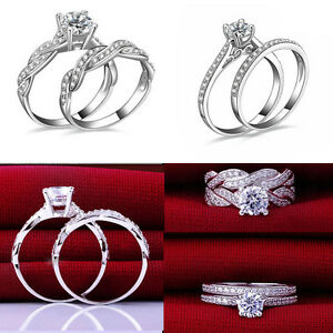 2Pcs-Set-Women-Engagement-Wedding-PARTY-Cubic-Zirconia-Silver-Plated-Ring-HS5