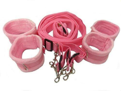 Pink Cosplay Restraint Under the Bed System Straps with Detach Handcuffs Black
