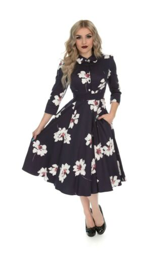 Hearts /& Roses 50/'s Vintage Grace Midnight Purple White Floral Shirt Swing Dress