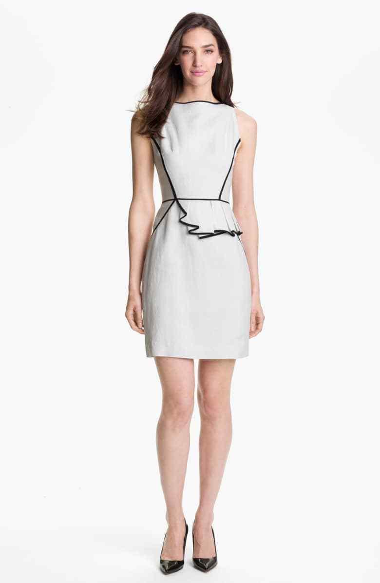 NWT Milly Shimmering Linen-Blend Peplum Dress - US 4, AU 8