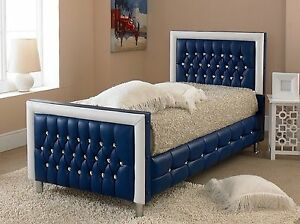 3ft Single Blue Diamond Bed Frame With White Border Upholstered Faux