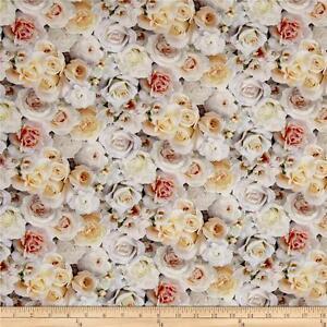 Elizabeth-039-s-Studio-Digital-Garden-White-Roses-100-cotton-fabric-by-the-yard