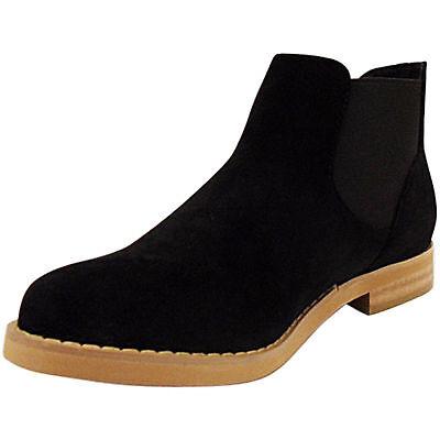 Nuevo Para Mujer Damas De Madera Mira único bloque de talón bajo Chelsea Botines Zapatos Talla