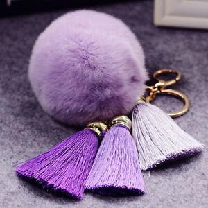ALS-Fashion-Women-Faux-Fur-Tassel-Key-Ring-Pendant-Keychain-Bag-Accessories-Cha