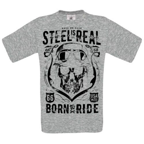 have no fear steel is reel biker gangsta rider skull rebel   MENS t SHIRT ts5