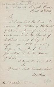 British-Prime-Minister-Gordon-signed-letter-1839-4th-Early-of-Aberdeen