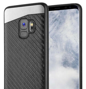 newest a248f 65695 Details about Samsung Galaxy S9 - Magnetic Back-Plate Black Carbon Fiber  TPU Rubber Case Cover