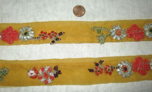 SEQUINS GOLD ZARI #ABE6U Vintage Antique Border Sari Trim Lace RARE OLD BEADS