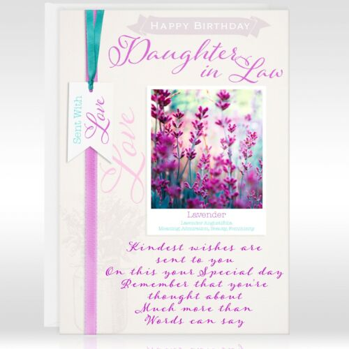 Daughter In Law Birthday Greeting Card Flowers Personalised Or Not