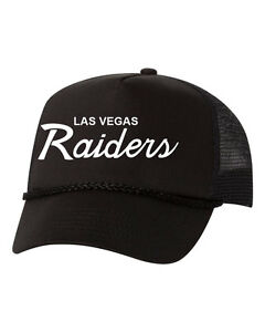 Details about Las Vegas Raiders Trucker Hat Mesh Cap Snapback Adjustable  Brand New-Black/Black