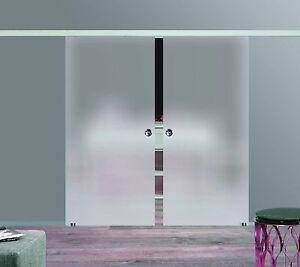 Doppelschiebetür Glas slimline softstop glas schiebetür 2-flügelig 2x1025x2050mm bs-1025d