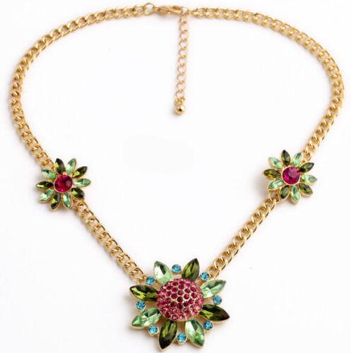 Exquiste Anthropologie Summer Transculent Green Petal Pink Flower Gold Necklac