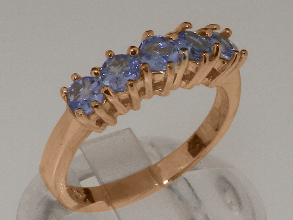 14k pink gold Natural Tanzanite Womens Eternity Ring - Sizes 4 to 12