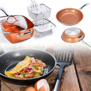 Copper Round Square Frying Pan Induction Chef Glass Lid