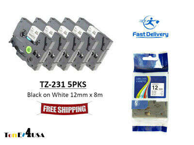 12 mm x 8 m 8pk For Brother for TZe231 Black on White Tape 0.47 in x 26.2 ft