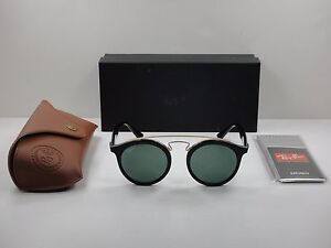 4564576551 RAY-BAN ROUND SUNGLASSES RB4256 601 71 BLACK GOLD FRAME GREEN ...