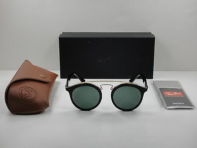ray ban round sunglasses black and gold