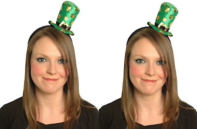 2 X Mini Leprechaun Top Hat Fascia Cappello Popper St Patricks Giorno Fancy