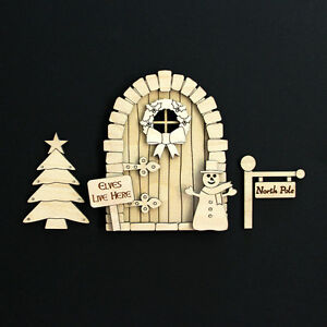 Details about Wooden Christmas Elf Fairy Door Blank Craft Kit - traditional
