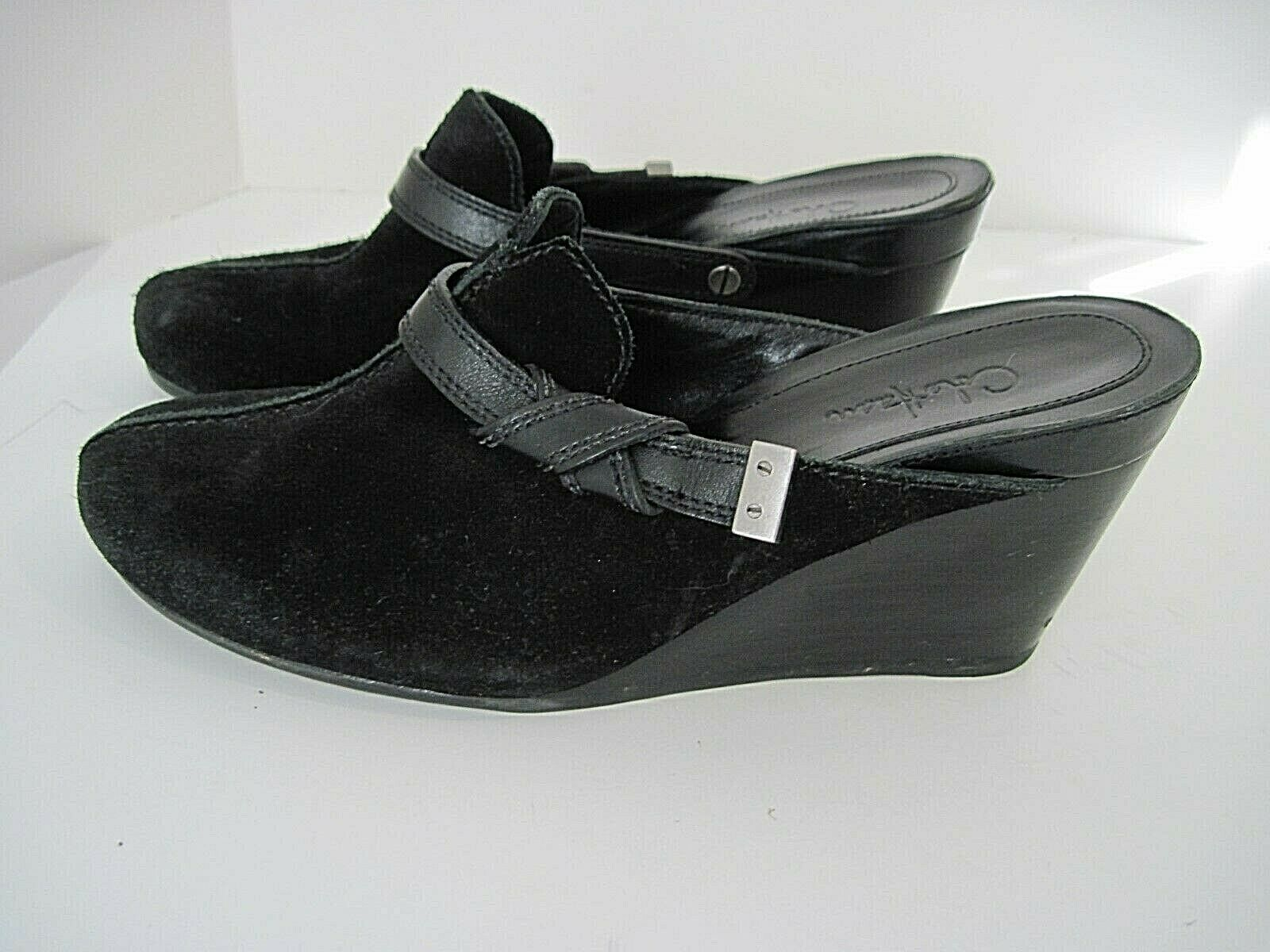 Cole Haan Women's Wedge Clogs Mules Black Suede Leather Buckle Size 7 1 2B