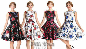 New-Vintage-1950s-Style-Floral-Rose-Pattern-Swing-Circle-Party-Dress-Plus-Size