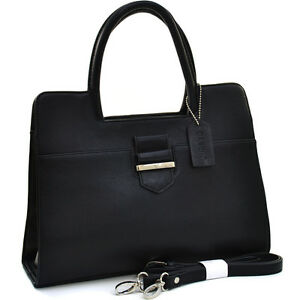 New-Women-Handbag-Faux-Leather-Satchel-Shoulder-Bag-Tote-Bag-Medium-Purse-Black