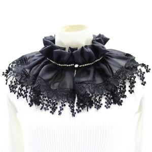 HD-KF-BL-Women-Detachable-Ruffle-Lace-Chiffon-Sweater-Shirt-Coat-Fake-Collar