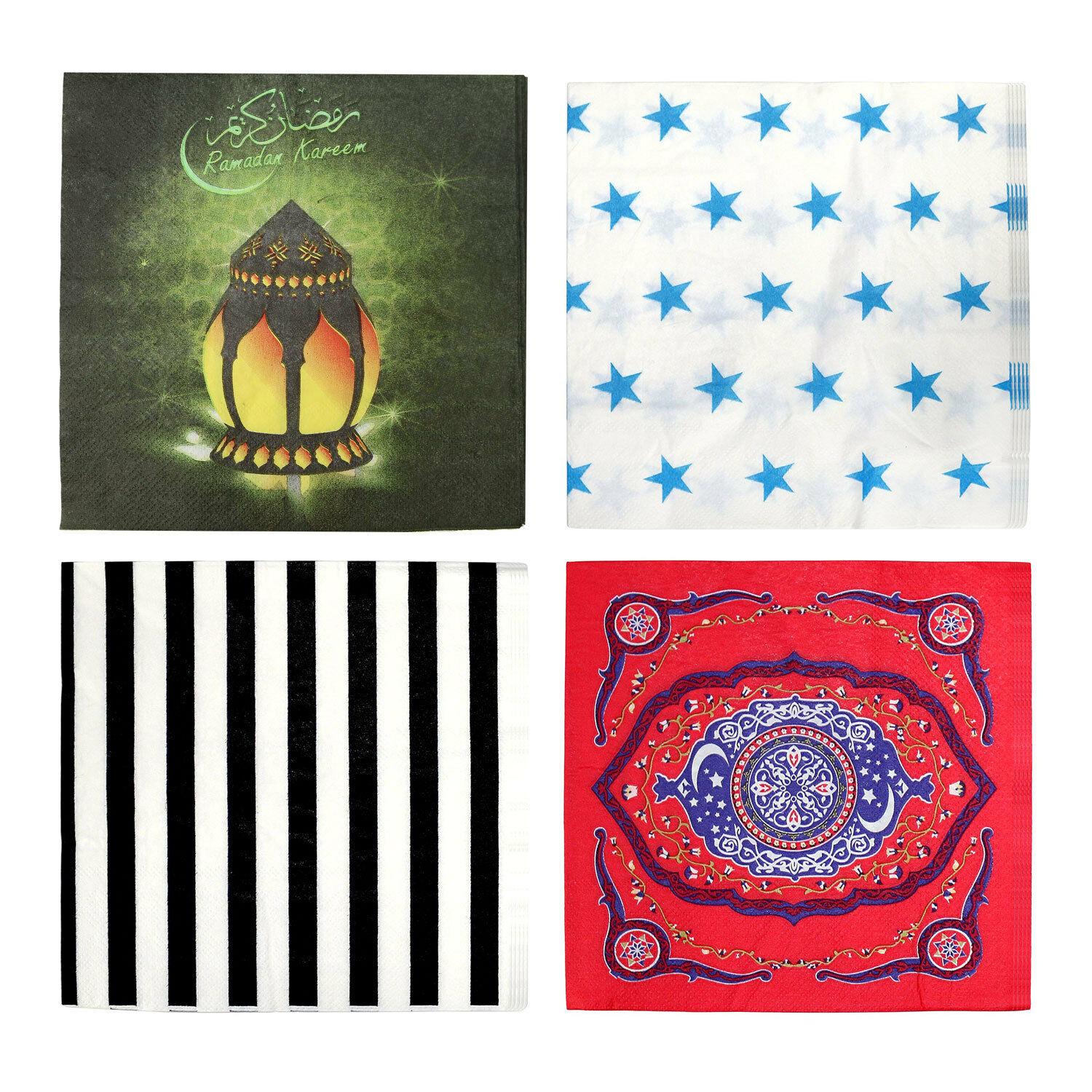 Lantern 20 Pack Islam Eid Mubarak Colourful Party Napkins Tableware Supplies