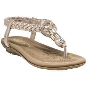 Neu Damen Lotus Gold Bologna Synthetik Sandalen Flache Schuhe Ebay