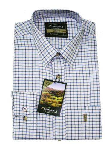 Champion Mens Tattersall Country Check Long Sleeve Shirts Farming Fishing Shirt