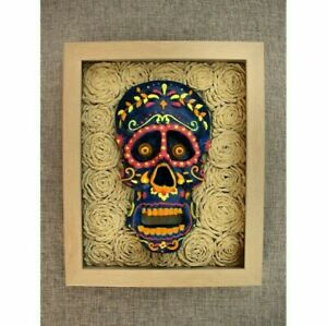 Day-of-the-Dead-Handmade-Framed-Sculpture-Home-Decor-Dia-De-Muertos-Skull