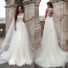 New White Ivory Wedding Dress Lace Bridal Gown Custom Size 6-8-10-12-14-16-18+++