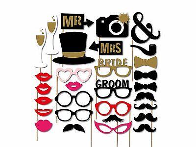 32Pcs SELFIE Photo Booth Props Anniversaire Mariage Fiançailles moustache lunettes bricolage