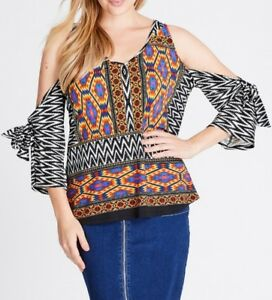 Crossroads-Cold-Shoulder-Tribal-Top-Multi-Colour-3-4-Sleeve-Size-18-Free-Post