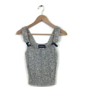 Ann-Demeulemeester-Sweater-Tank-Top-36-Gray-Black-Wool-Knit-Cropped-Women-s