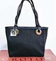Oroton Bag Handbag Signature O Tote Medium Black Leather Canvas Rrp$395