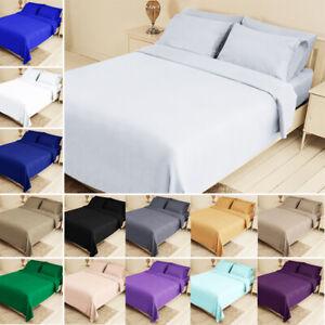 Bed-Fitted-Sheet-Set-Flat-Sheet-Pillowcase-Bedding-Twin-XL-Queen-King-14-colors