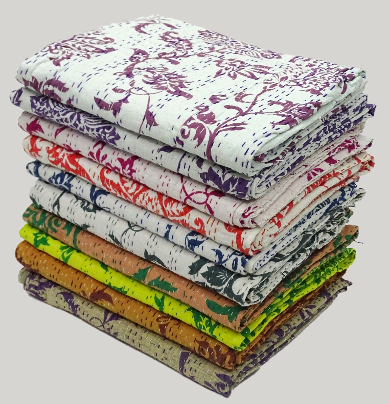 25Pc Lot Kantha Quilt Single Size Lotus Print Bedsheet Handmade Cotton Bedspread