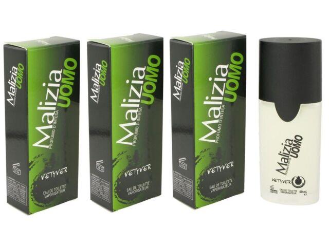 Vetyver Malizia Uomo Cologne for Men 50ml EDT Spray - Pack of 3