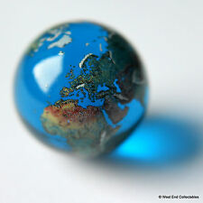 22mm Detailed Solid Glass Earth Globe Marble - Cosmic World Planet Gaea Terra