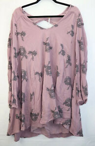 Free-People-Anthropologie-Womens-Size-Large-Purple-Floral-Dress-Long-Sleeve-EUC