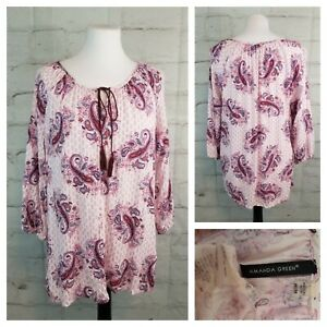 Amanda-Green-M-Loose-Fitting-Tunic-Top-3-4-Sleeves-White-Purple-Paisley-Tassels