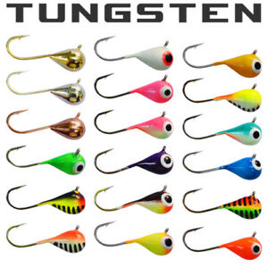 Details about 18 PACK - Tungsten Jigs 6mm - #8 Hook Walleye, Crappie, Perch  Ice Fishing Jigs