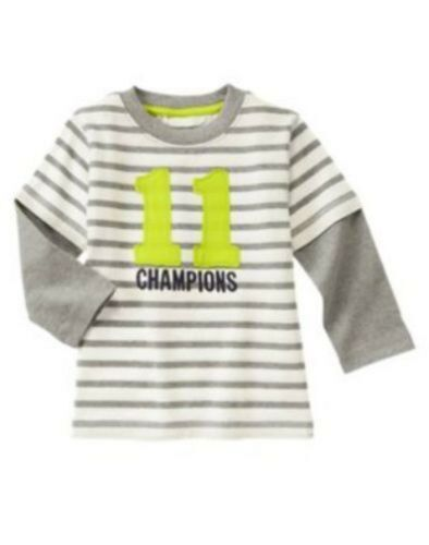 NWT Gymboree Boys Star Brights Champions Soft Striped Shirt Size 2T /& 3T
