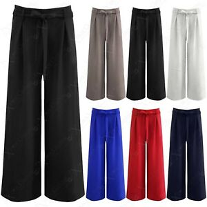 LADIES-WIDE-LEG-PALAZZO-LOOK-TROUSERS-WOMENS-FLARED-TIE-BELT-TAILORED-LONG-PANTS