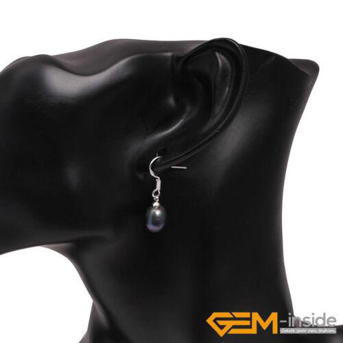 7-8 X 9-10 mm d/'eau douce Perles Plaqué Argent Dangle Boucles d/'oreilles de Noël Bijoux