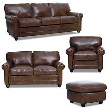 sterling cognac brown italian leather sofa loveseat and chair ebay